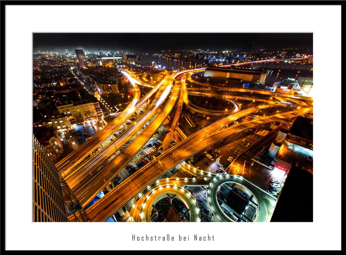 Hochstraße bei Nacht zur Rush Hour, Ludwigshafen am Rhein
